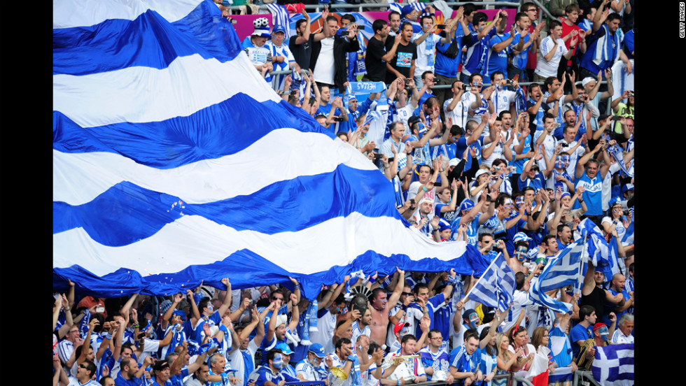 Fans cheer for Greece during its Group A match against the Czech Republic on Tuesday.