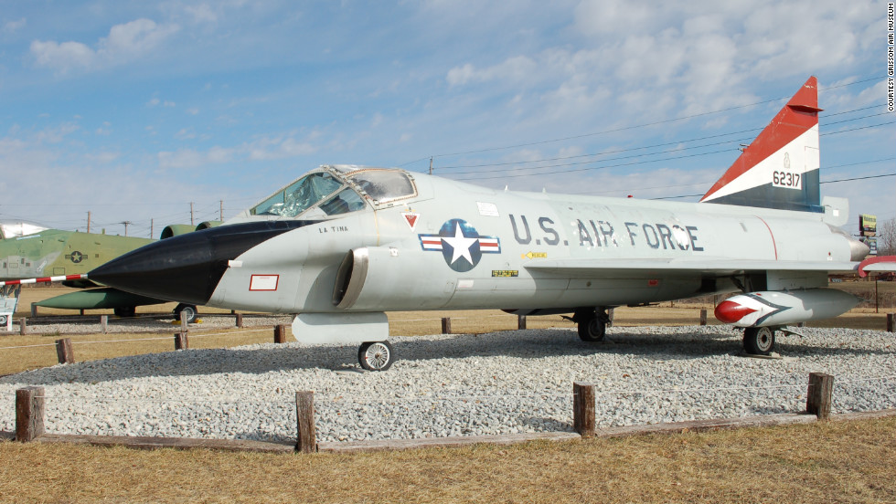 "This rare, two-seat TF-102A Delta Dagger was flown by a young George W. Bush, <a href=""http://www.grissomairmuseum.com/?page_id=139"" target=""_blank"">according to Grissom Air Museum</a>. This model could reach a top speed of 646 mph -- just under the speed of sound."