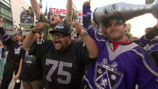 Fans celebrate Kings Stanley Cup victory