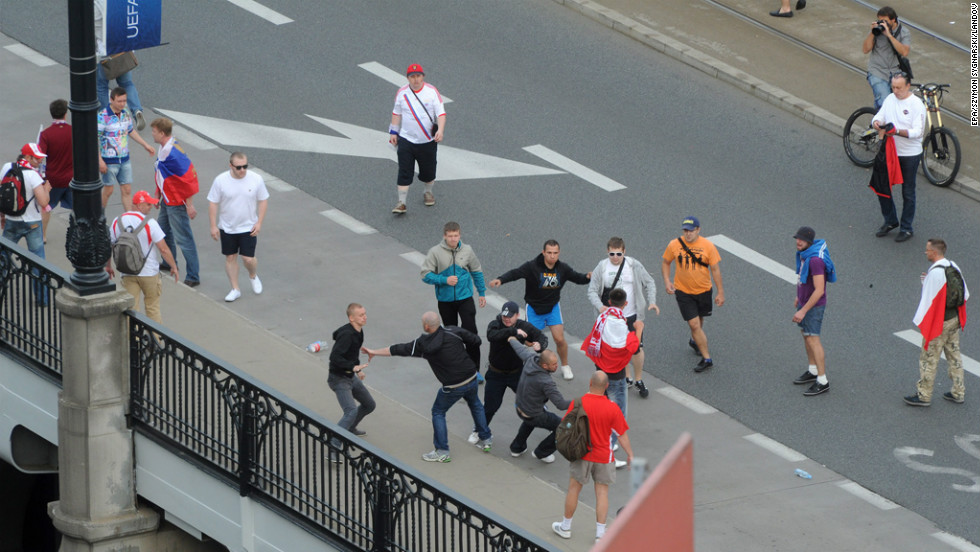 Polish and Russian fans clash during a march of Russian supporters to the National Stadium in Warsaw.