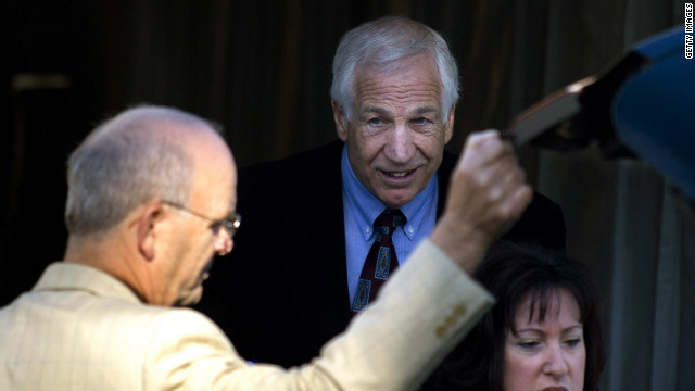 Jerry Sandusky arrives at court for the third day of his trial in Bellefonte, Pennsylvania.