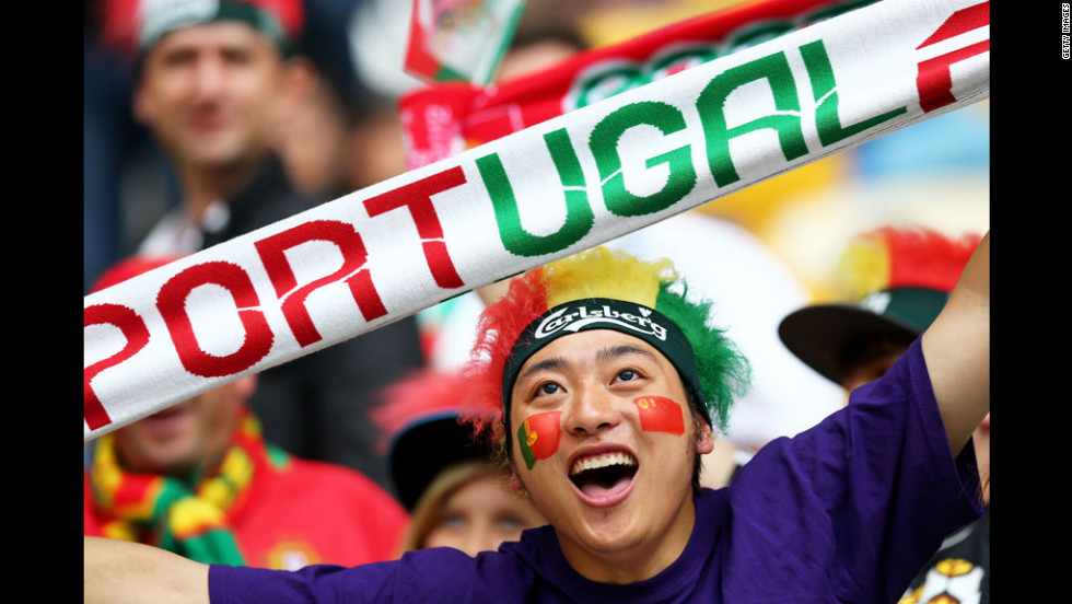 Portugal fans rally before the Group B match against Denmark in Lviv, Ukraine.