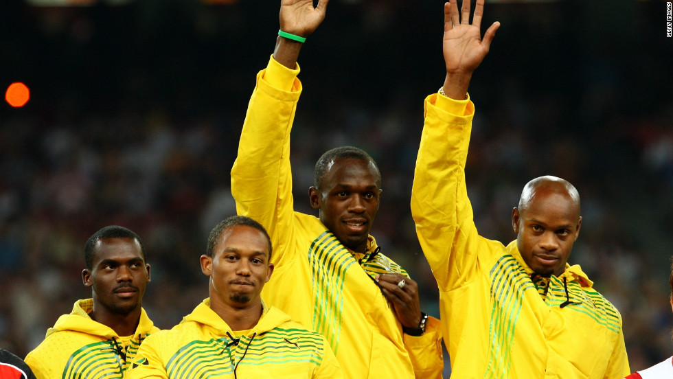Bolt completed a gold medal treble as Jamaica's sprint relay quartet also triumphed in Beijing.