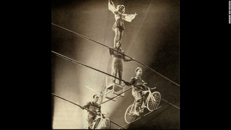 The Wallendas perform the four-person pyramid, one of their signature acts. In 1948, the team created a seven-person pyramid.