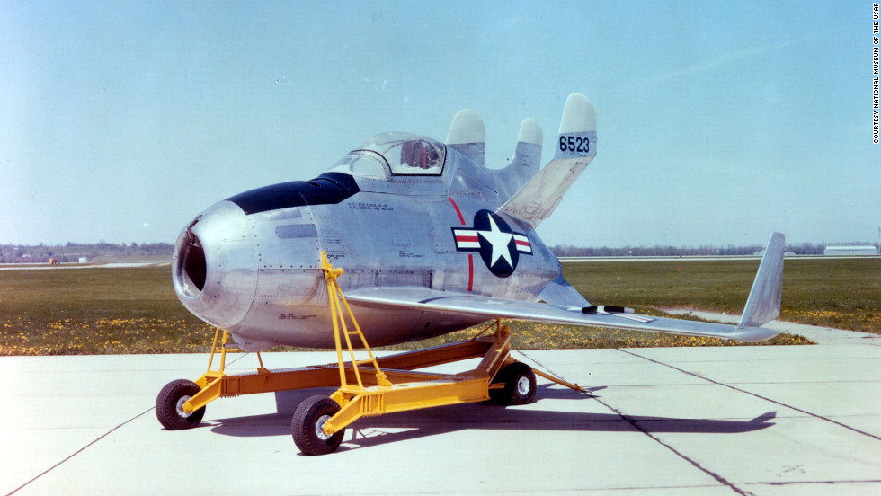 "The museum also has this bad boy: a McDonnell XF-85 Goblin, which was developed in the 1940s to be released from a bomber to defend against attacks by enemy fighter planes. The project was killed in 1949, <a href=""http://www.nationalmuseum.af.mil/factsheets/factsheet.asp?id=586"" target=""_blank"">according to the museum</a>."