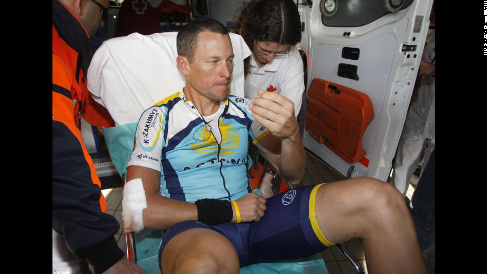 In 2009, Armstrong suffered a broken collarbone after falling during a race in Spain.