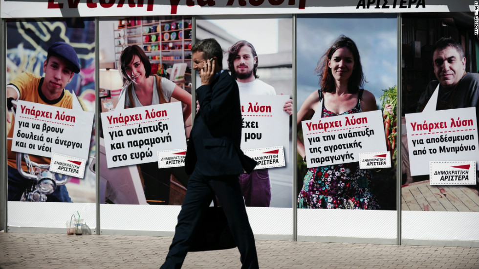 Democratic Left election campaign posters line the streets of Athens on June 7, 2012.