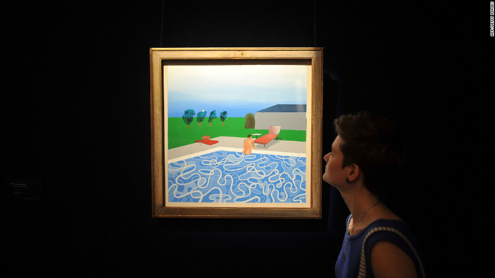 "A woman views ""Swimming Pool' by David Hockney."