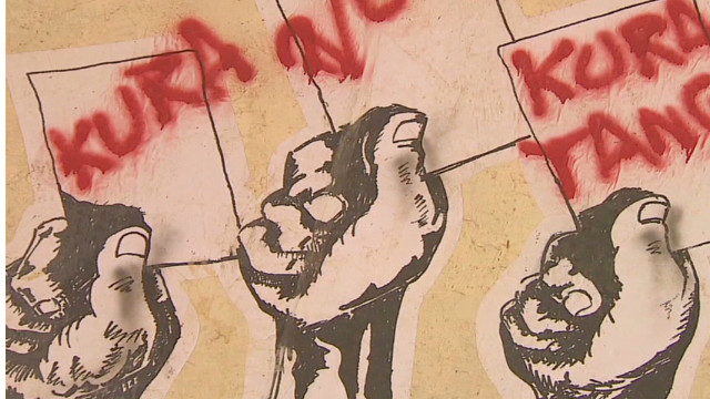 Graffiti artists target politicians
