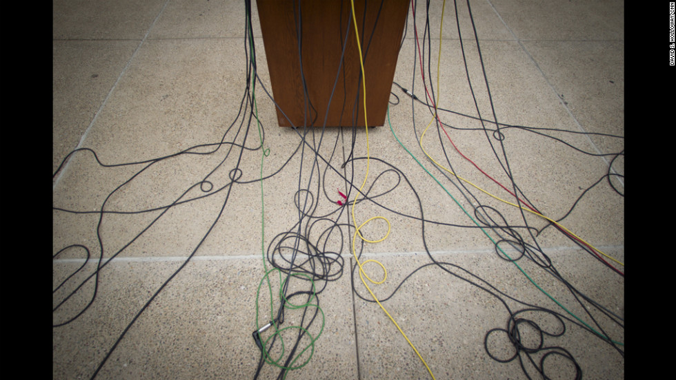 Mic cords abound as the media took over the courthouse lawn to cover the Jerry Sandusky trial.
