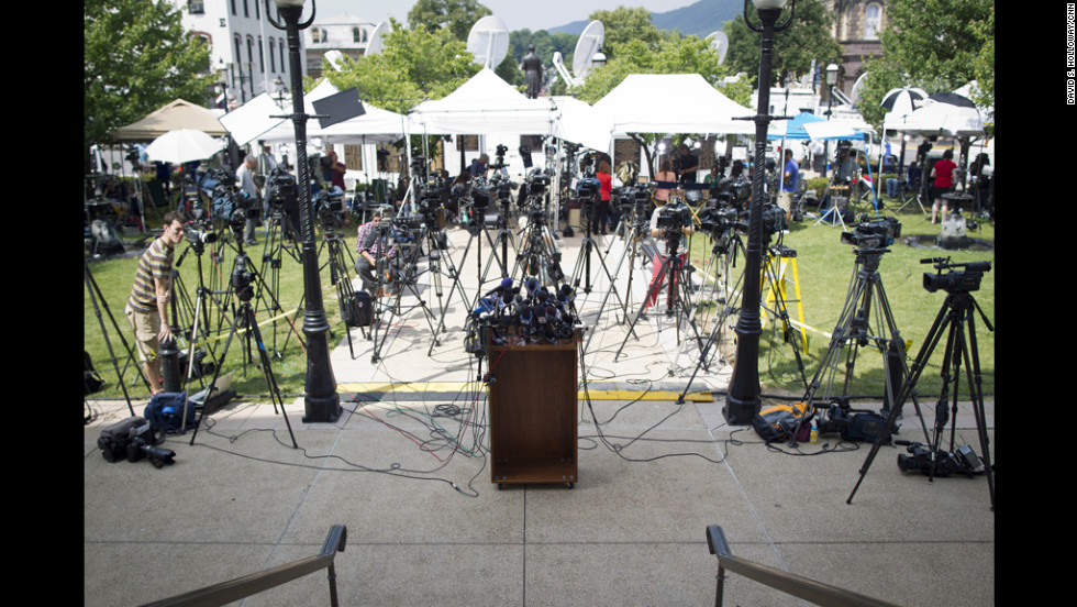 Mics and cameras surround the podium ouside the courthouse where Jerry Sandusky is on trial.