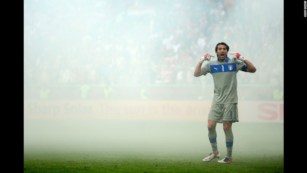 Gianluigi Buffon of Italy gestures during the match against Croatia.