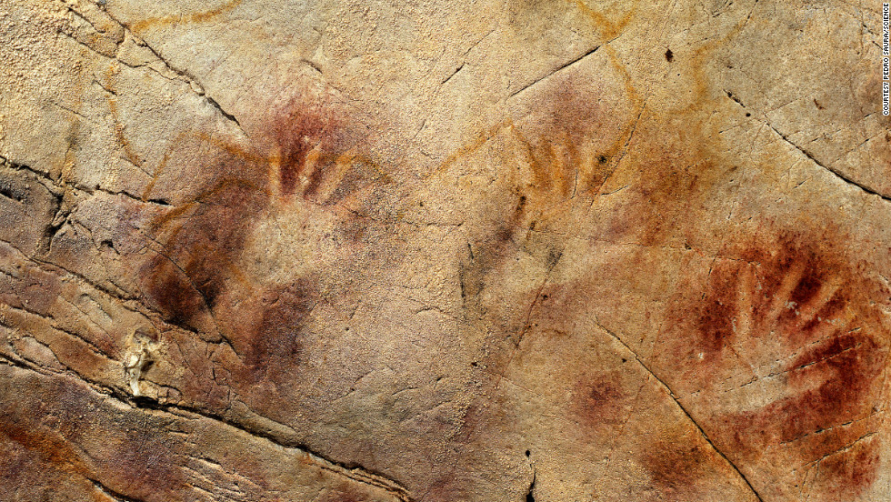 "This has been called ""The Panel of Hands"" in El Castillo Cave in Spain. A hand stencil here is more than 37,300 years old."