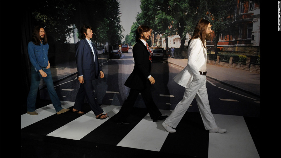 Wax figures of the Beatles (from left, George Harrison, Paul McCartney, Ringo Starr and John Lennon) are displayed Thursday at Madame Tussauds New York.