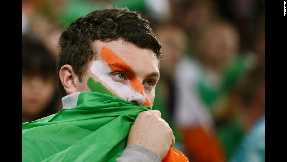 Republic of Ireland fans look on during the Spain-Ireland match.