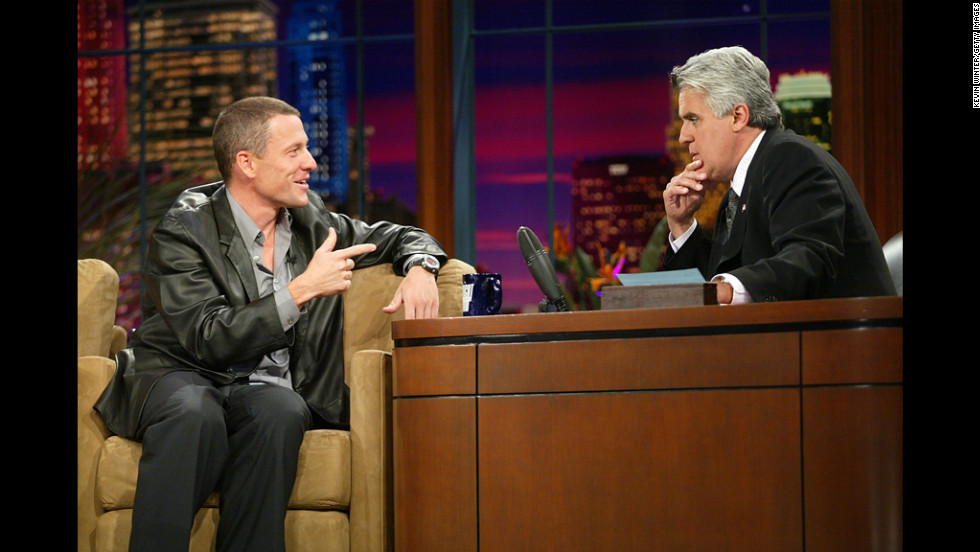 "Jay Leno interviews Armstrong on ""The Tonight Show"" in 2003."