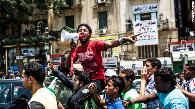 Egyptians gather to protest in Tahrir Square on Friday in Cairo.