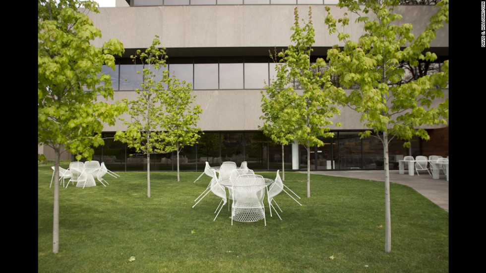 Steelcase headquarters includes a spot for employees to gather outdoors.