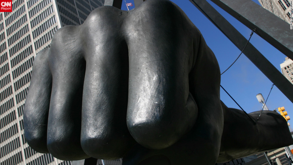 Dedicated in 1986, the Monument to Joe Louis was built in honor of the heavyweight boxing champion of the world from 1937 to 1949. The bronze fist is suspended 24 feet above the ground at a busy downtown intersection, representing the fighting spirit of the boxer as well as Detroit.