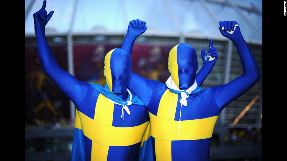 Sweden fans show their support before the group D match between Sweden and England.