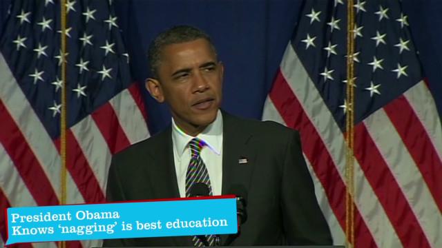 Obama touts merits of 'nagging'