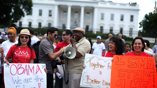 WASHINGTON, DC - JUNE 15:  Members of CASA de Maryland gather in front of the White House to celebrate the Obama Administration's announcement about deportation of illegal immigrants June 15, 2012 in Washington, DC. Obama said the administration will stop deporting undocumented immigrants who had come to the U.S. when they were at a young age.  (Photo by Alex Wong/Getty Images)
