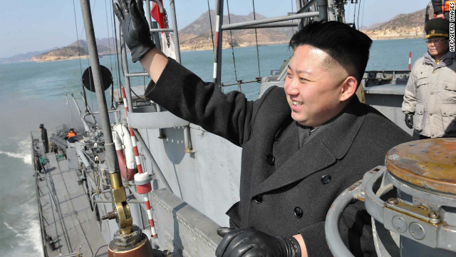 ---EDITORS NOTE--- RESTRICTED TO EDITORIAL USE - MANDATORY CREDIT 'AFP PHOTO / KCNA VIA KNS' - NO MARKETING NO ADVERTISING CAMPAIGNS - DISTRIBUTED AS A SERVICE TO CLIENTS This undated picture, released from North Korea's official Korean Central News Agency on March 10, 2012 shows North Korean leader Kim Jong Un waving his hand on a naval vessel as he inspects Korean People's Army Navy Unit 123 honored with the title of O Jung Hup-led Seventh Regiment at undisclosed place in North Korea. AFP PHOTO / KCNA via KNS (Photo credit should read KNS/AFP/Getty Images)