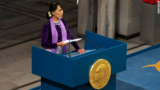 OSLO, NORWAY - JUNE 16:  Nobel Laureate Aung San Suu Kyi speaks during a Nobel lecture at Oslo City Hall on June 16, 2012 in Oslo, Norway. Aung San Suu Kyi was awarded the Nobel Peace Price in 1991 but after being kept under house arrest for most of the past 24 years has not had a chance to receive it until now. (Photo by Ragnar Singsaas/Getty Images)