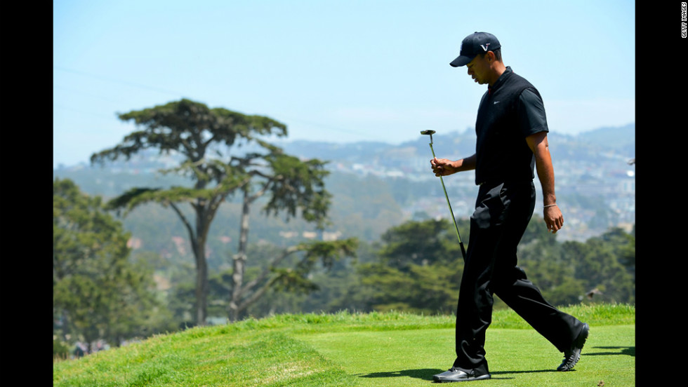 Tiger Woods of the United States walks off the third tee during the second round of the U.S. Open on Friday, June 15.