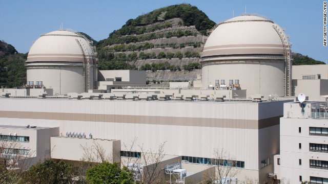This picture taken in April shows the third and fourth reactor building of the Ohi nuclear power plant in Japan.