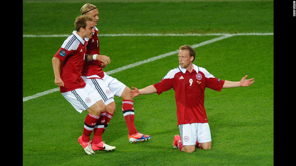 Michael Krohn-Dehli of Denmark reacts after scoring the first goal against Germany.