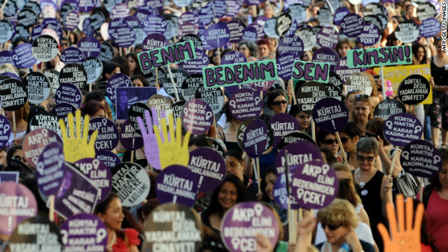 Thousands of Turkish women march to Taksim Square during a protest against plans to reduce the time limit for abortions.