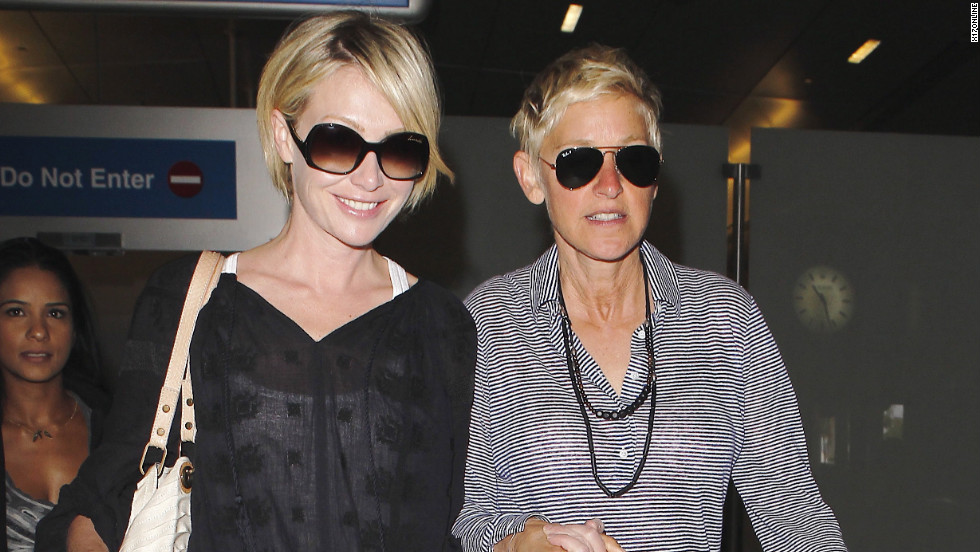 Portia de Rossi and Ellen DeGeneres arrive in Los Angeles.