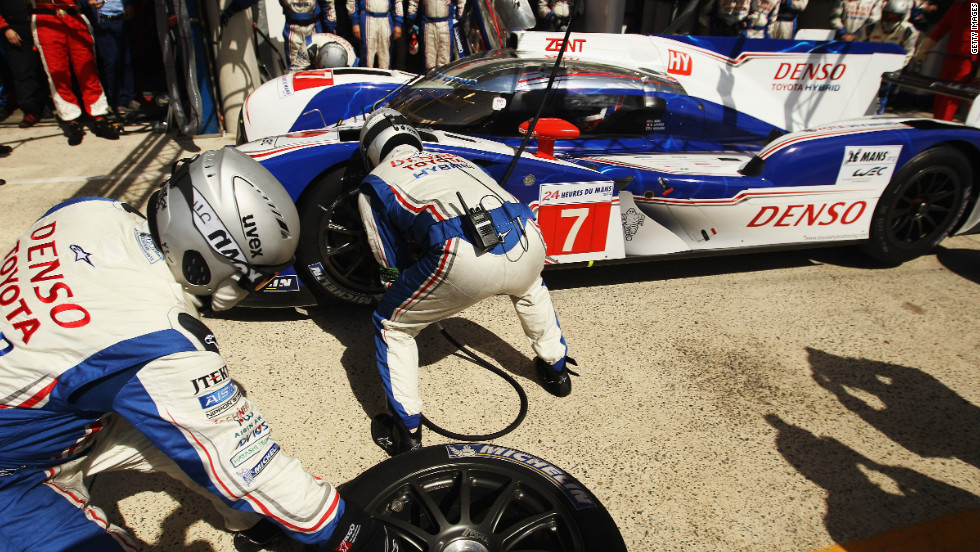 Davidson's Toyota team perform a pit stop. He was one of  several ex-Formula One drivers who took part in the race.