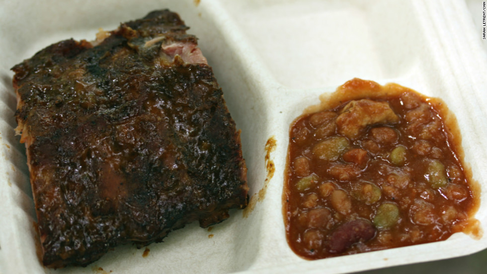 Babyback ribs and beans from pitmaster Mike Mills of 17th Street BBQ, Murphysboro, Illinois