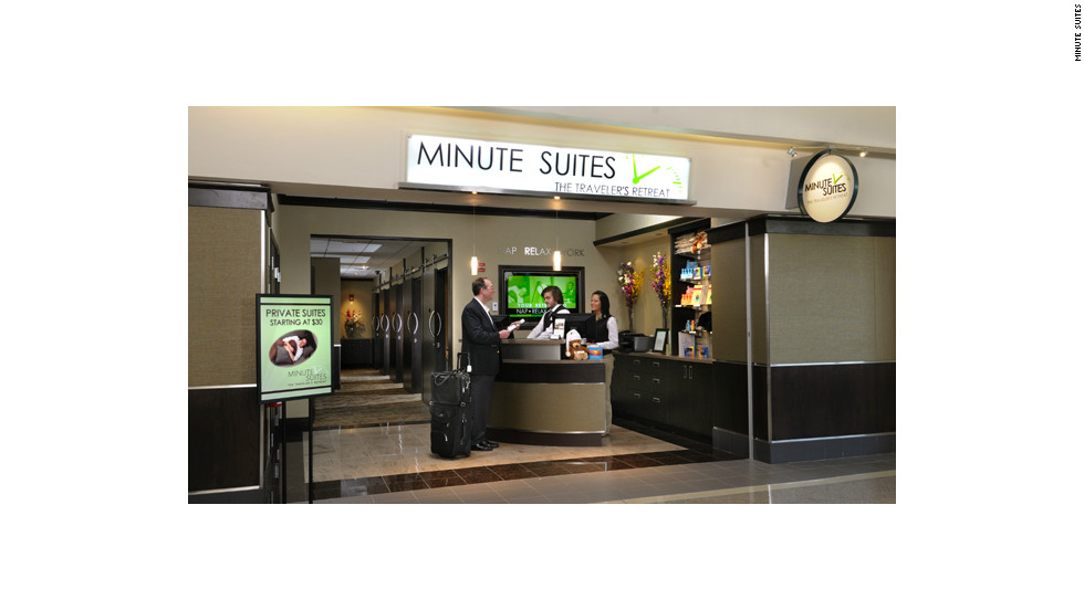 Minute Suites provides private rest spaces for travelers to relax nap or work inside the security areas at two U.S. airports.