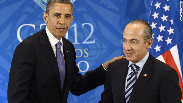 President Obama met with Mexico President Felipe Calderon during the G-20 summit in Los Cabos, Mexico Monday.