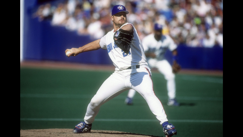 Clemens pitches for the Toronto Blue Jays at the Sky Dome in Toronto. He played for the team from 1997 to 1998.