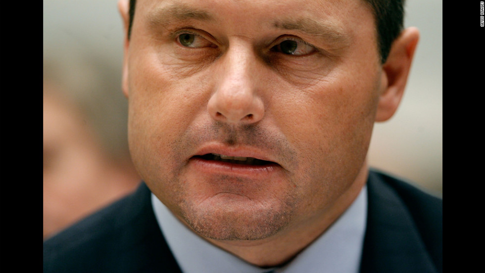 Clemens testifies about allegations of steroid use by professional baseball players before the U.S. House Oversight and Government Reform Committee on February 13, 2008.