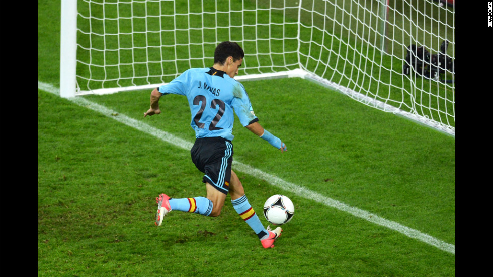City has already made two major signings in the off-season, acquiring Spanish winger Jesus Navas from Sevilla and Brazilian midfielder Fernandinho from Shakhtar Donetsk for a total believed to be $70 million. Navas is pictured scoring for Spain in Euro 2012.