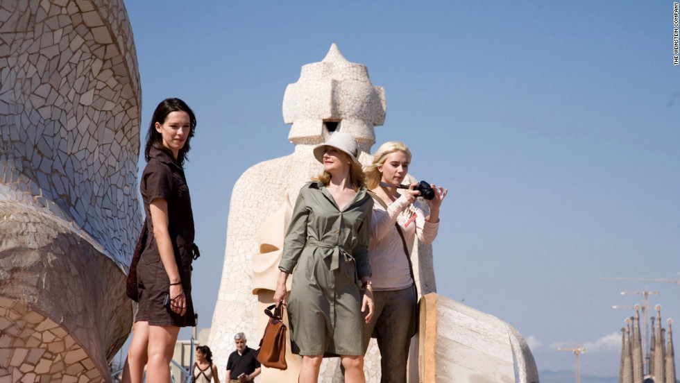 "Friends played by Rebecca Hall and Scarlett Johansson visit Antonio Gaudi's Casa Mila in ""Vicky Cristina Barcelona."""