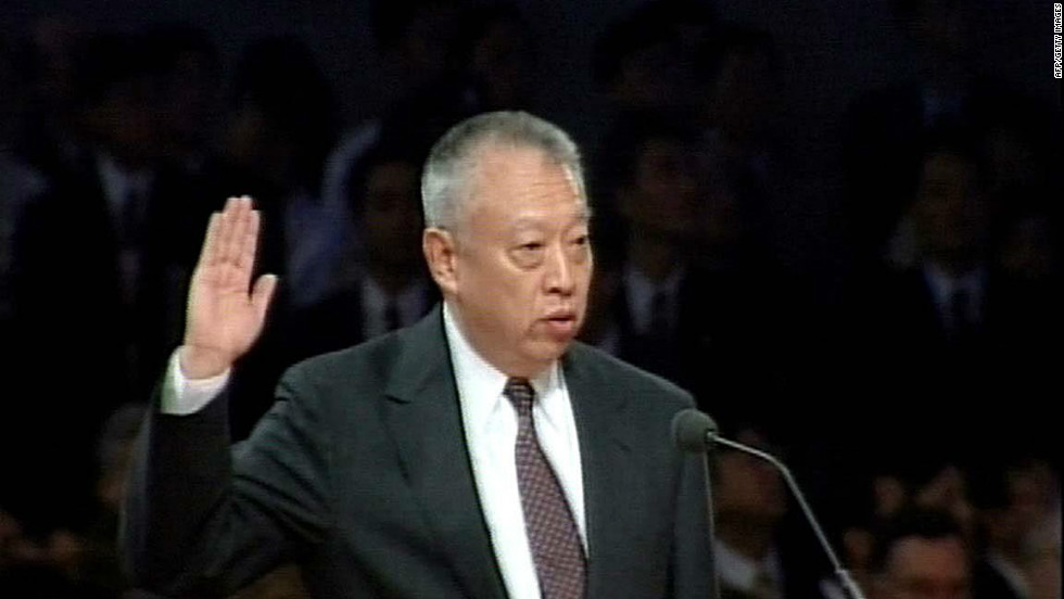 Tung Chee-hwa is sworn in as the first chief executive of the Hong Kong Special Administrative Region on July 1, 1997 after the territory reverted to Chinese rule.