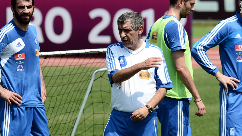 Greece coach Fernando Santos leads a training session for his squad ahead of the quarterfinal clash with Germany in Euro 2012.