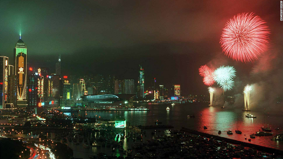 Fireworks light up Hong Kong's Victoria Harbour on the night of June 30, 1997, to mark the British withdrawal from the territory.