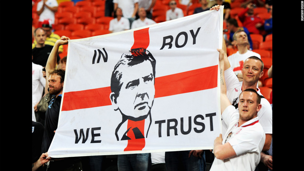 England's fans get ready for the match against Ukraine at Donbass Arena in Donetsk, Ukraine.