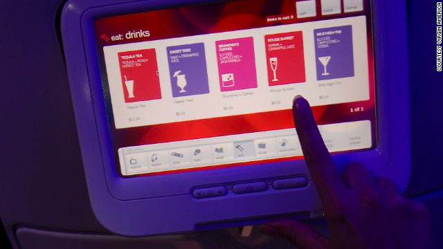 Virgin Atlantic offers touchscreen ordering for snacks to expedite the arrival of in-flight sustenance.