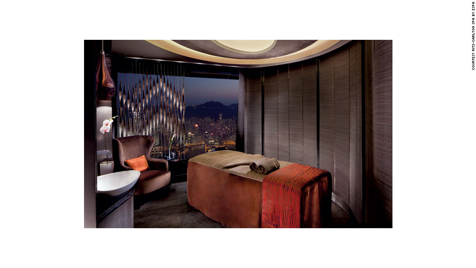 "Treatment rooms at the Ritz-Carlton Hong Kong's Spa by ESPA are 1,624 feet above the city. <a href=""http://www.budgettravel.com/slideshow/photos-girls-weekend-world-spas-with-incredible-views,8525/ "" target=""_blank"">See more photos of the spas at BudgetTravel.com</a>."