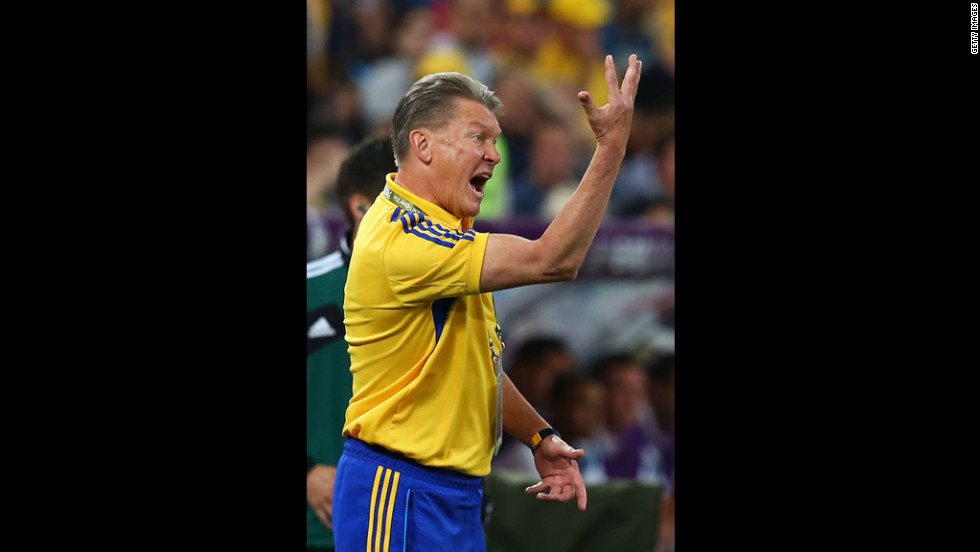 Head coach Oleh Blokhin of Ukraine shouts instructions during the match between England and Ukraine.