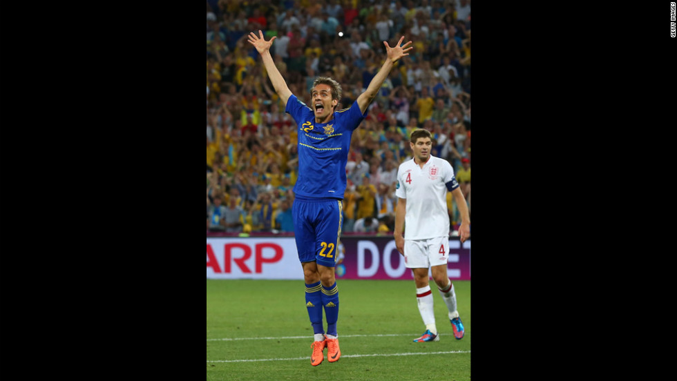 Marko Devic of Ukraine reacts during the match between England and Ukraine.