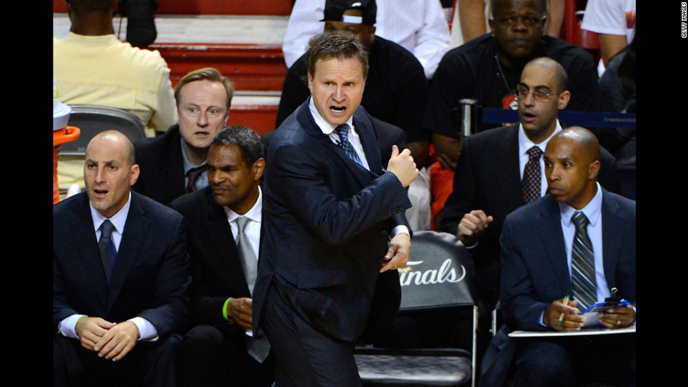 Head coach Scott Brooks of the Oklahoma City Thunder reacts in the second half against the Miami Heat.